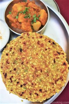 Moong Dal Ka Paratha (Rajasthani Churi Ki Poori) - Bliss Of Cooking Aloo Recipes, Paratha Recipes, Curry Recipes, Recipies, Moong Dal Recipe, Roti Recipe, Veg Dinner Recipes, Breakfast Recipes, Snack Recipes