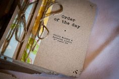 Lovely rustic style 'order of the day' booklets using twine....