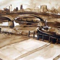 LAGNY le pont hardy lavis au brou de noix