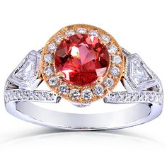 Annello 18k Two-Tone Gold Pink Tourmaline and 3/4 ct TDW Diamond Ring (G-H…