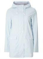 Womens Pale Blue Button Raincoat- Blue