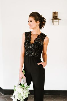 Chic black bridesmaid jumpsuit: http://www.stylemepretty.com/massachusetts-weddings/topsfield/2016/07/13/whats-black-white-and-chic-all-over-this-wedding-inspiration-shoot/ | Photography: Annmarie Swift Photography - http://annmarieswift.com/