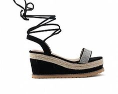 Flatforms Μαύρα δερματίνη φάσα με στρας lace-up Espadrilles, Lace Up, Wedges, Shoes, Fashion, Espadrilles Outfit, Moda, Zapatos, Shoes Outlet