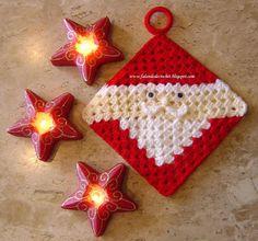 Falando de Crochet - Gráficos: PEGADOR DE PANELAS QUADRADO DE CROCHE PAPAI NOEL (CHRISTMAS CROCHET)