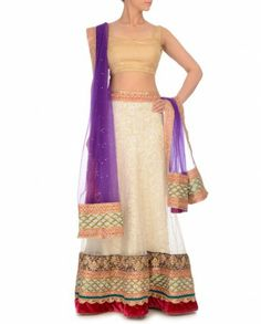 Cream Unstitched Lehenga Set