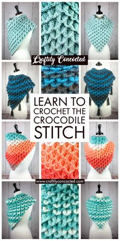 Free tutorial to learn to crochet the Crocodile Stitch. Looks like scales, works up with lots of crocheted texture. Free crochet pattern and tutorial with video included. Crochet Bunting Free Pattern, Crochet Stitches Patterns, Stitch Patterns, Knitting Patterns, Simple Crochet Patterns, Different Crochet Stitches, Crochet Borders, Cross Stitches, Loom Patterns