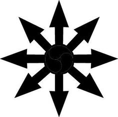 The Chaos Wheel is a Wheel constructed from eight-arrow headed spokes. Representing the notion infinite possibilities, the symbol is a recent addition to a veritable galaxy of meaningful shapes.