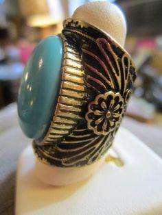 Knuckle Ring Vintage Retro Southwestern Ethnic Large Turquoise Long 8