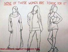 """""""NONE of these women are 'Asking For It'""""  Source: True Lebanese Feminist (Fb)"""