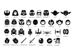 Star Wars Icons Personalized Vinyl Wall Decal Available sizes (approximate): 2 feet wide 3 feet Simbolos Star Wars, Star Wars Icons, Star Wars Jokes, Star Wars Facts, Star Wars Characters, Disney Star Wars, Star Wars Tattoo, War Tattoo, Carta Collage