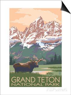 Grand Teton National Park - Moose and Mountains Prints by Lantern Press at…