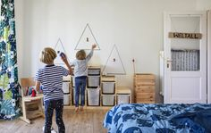 A playful kids' bedroom makeover for two siblings – IKEA Toy Storage Units, Storage Tubs, All White Room, White Rooms, Affordable Storage, Wooden Numbers, Create Space, Bed Frame, Storage Solutions