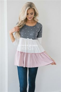 Color Block Polka Dot Top