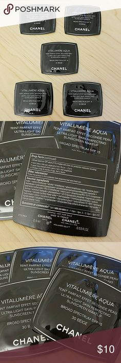 Chanel Vitalumiere Aqua skin perfecting foundation 5- 0.03 fl. oz samples of  Chanel Vitalumiere Aqua skin perfecting foundation. Each was has enough for about two applications. Color is 30-Beige. Great for travel! CHANEL Makeup Foundation