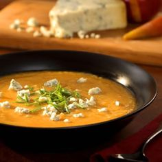 Roasted Pear Butternut Soup with Crumbled Stilton