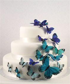 Butterfly Cake Decorations - Set of 25 Blue Butterflies