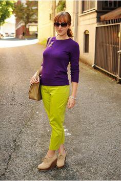 Purple-sweater-chartreuse-pants-beige-wedges