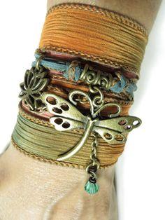 Bohemian Dragonfly Lotus Silk Wrap Bracelet Yoga Bracelet by HVart, $29.99