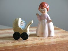 Vintage salt and pepper shakers ceramic girl with by oldstufflove, $8.00