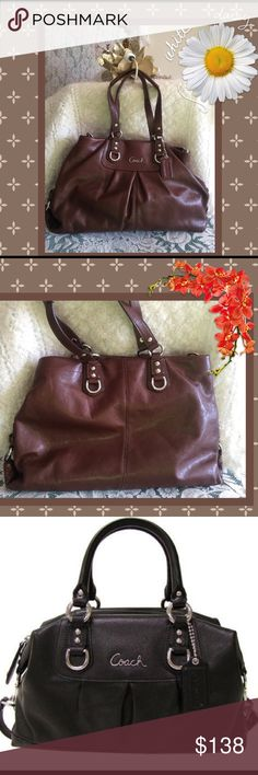 """Coach Ashley Leather Carryall handbag. EUC Measurements: approx. 15.5"""" L x 9"""" H x 3.5"""" D  .75"""" wide handles with 8"""" drop  1-1.5"""" wide shoulder strap with 15"""" drop Slouchy carryall Detachable, three-section leather shoulder strap Two-section interior with magnetic closures Center dividing pocket with zip top closure with leather zipper pull  Wine/purple sateen lining  Interior zip, slip and phone pockets  Coach metal logo plaque on front  Matching leather Coach hang tag  Coach stamped creed…"""