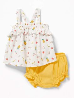 Ruffled Fruit-Print Tank & Bloomers Set for Baby
