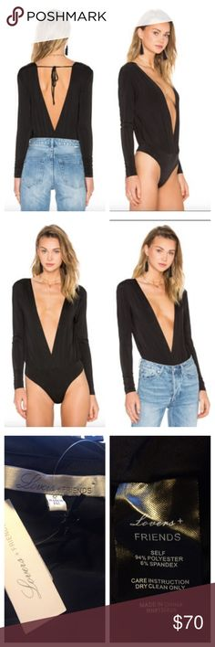 Lovers + Friends X Revolve NWT Tension bodysuit SM Super cute BRAND new with tags Lovers + Friends X Revolve tension bodysuit. Super sexy deep v bodysuit, bottom snap closure, back tie closure, long sleeves- poly spandex blend. Retails at $110 size small Lovers + Friends Tops