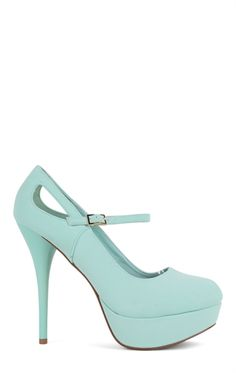 Round Toe Platform Pump with Mary Jane Strap and Side Cutouts Mobile
