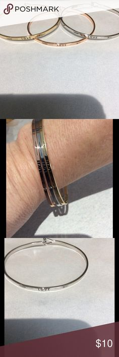 """Love Bangle Size is 2.5"""" x 2.25""""     Wire hook clasp    Plated silver /gold or rose gold   Please let me know which one to make sure I still have it Jewelry Bracelets"""