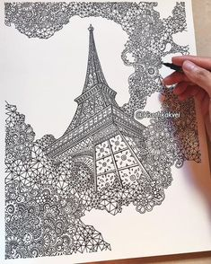 detailed drawings with many styles. by visoth kakvei. Doodle Art Drawing, Zentangle Drawings, Mandala Drawing, Pencil Art Drawings, Art Drawings Sketches, Cute Drawings, Zentangles, Doodling Art, Eiffel Tower Drawing
