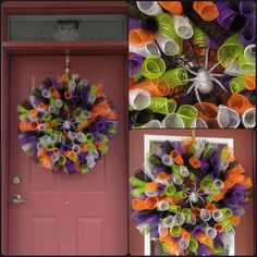 My first attempt at a Mesh Wreath. Materials purchased at Michaels Craft store
