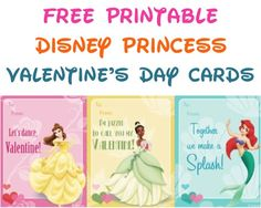 Free Printable Disney Princess Valentine's Day Cards