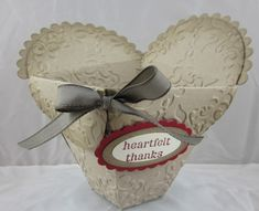 """Petal cone basket - vintage-y heart shaped basket.I used the """"Vintage Wallpaper"""" Textured Impressions Folder on this one before assembling the box."""
