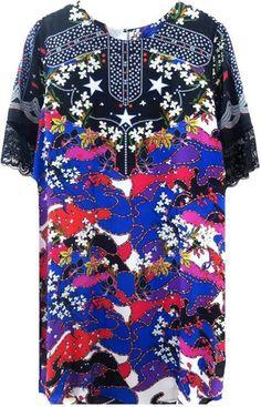 Silk Mixed Print Dress