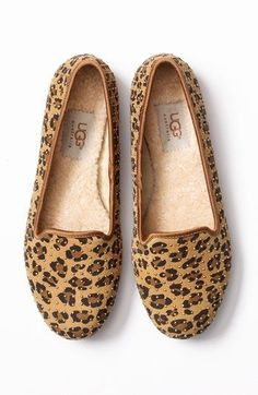 Cozy, studded UGG cheetah print flats - these are intriguing for winter!