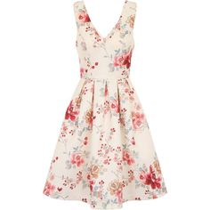 Chi Chi London Vintage Floral Print Midi Dress (1,440 MXN) ❤ liked on Polyvore featuring dresses, women, pink floral dress, fit and flare dress, v neck fit and flare dress, pink dress and floral fit and flare dress