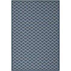Polypropylene Safavieh Indoor/Outdoor Courtyard Navy/Beige Rug (5'3 x 7'7) - Overstock™ Shopping - Great Deals on Safavieh 7x9 - 10x14 Rugs