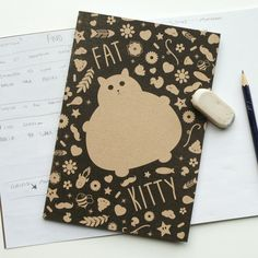 Cat Notebook, back to school, recycled sketchbook with plain pages, cute sketchbook, kawaii cat, colourful stationery booklet, A5 book