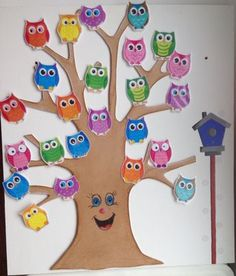 640 × 751 pixels Source by Preschool Classroom Themes, Owl Theme Classroom, Preschool Crafts, Fall Crafts, Diy And Crafts, Crafts For Kids, Nursery Class Decoration, Valentines Day Bulletin Board, Birthday Charts