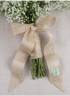 """Customize your wedding day look in your wedding colors with our personalized Burlap Bouquet Wrap with Tails. Measures 1.5"""" width x 2 yds length. At checkout, please add personalization details."""