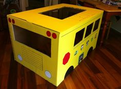 Check out my cardboard BUS! Made with exterior flat paint, Elmer's Painters Paint Markers and a few other tools - plus our time. TOTALLY WORTH IT! #ExpressYourself