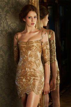 Dilek Hanif gold dress