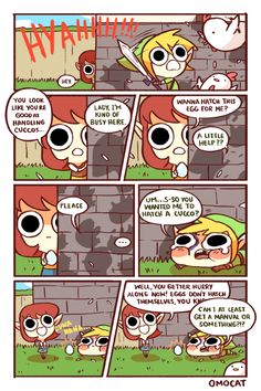 Cucco (chicken) lady and Link - The Legend of Zelda: Ocarina of Time; funny comic by Omocat