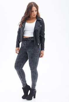 Quilted Faux Leather Jacket #F21Plus....I love this look it's bad ass