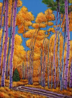 """Country Corner."" Aspen tree lined country road in the mountains of Colorado. An original acrylic painting on canvas by artist Johnathan Harris."