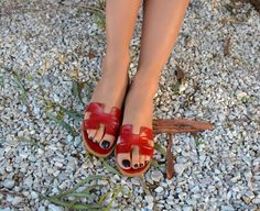 Red Hermes Leather Sandals, Red H Slides, Greek Leather Sandals, Red Greek Sandals, Red Leather Slides, Red sandals, Christmas gift for her