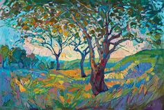 Impressions in oil, famous landscape of California Wine Country, by Erin Hanson