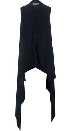 Asymmetrical black cape NIKHIL THAMPI. Shop at http://www.perniaspopupshop.com/whats-new/nikhil-thampi-asymmetrical-black-cape-nktc081309.html