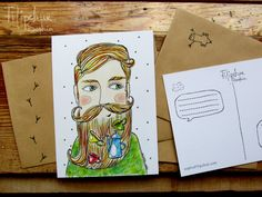 Items similar to Postcard beard on Etsy Mixed Media Art, My Arts, My Favorite Things, Creative, Handmade, Etsy, Painting, Illustrations, Vintage