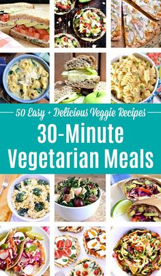 Looking for Quick Vegetarian Recipes? You'll love these Vegetarian Meals! Make one of these Easy Meatless Meals (Pasta, Soups, Salads, more) tonight. Vegetarian Sandwich Recipes, Veggie Recipes Healthy, Easy Vegetarian Dinner, Veggie Dinner, Vegetarian Soup, Easy Healthy Dinners, Vegan Recipes, Veggie Pizza, Dinner Meal