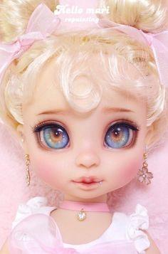 Hi Marie Repainting - Dolly Dolls Disney Baby Dolls, Disney Princess Dolls, Baby Disney, Ooak Dolls, Blythe Dolls, Art Dolls, Doll Eyes, Doll Face, Doll Hair Detangler